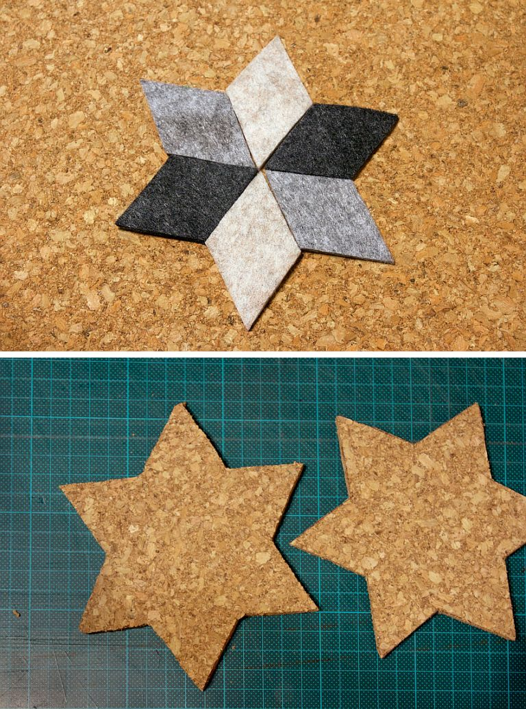 DIY Geometric Felt Coasters Prepare for Glue