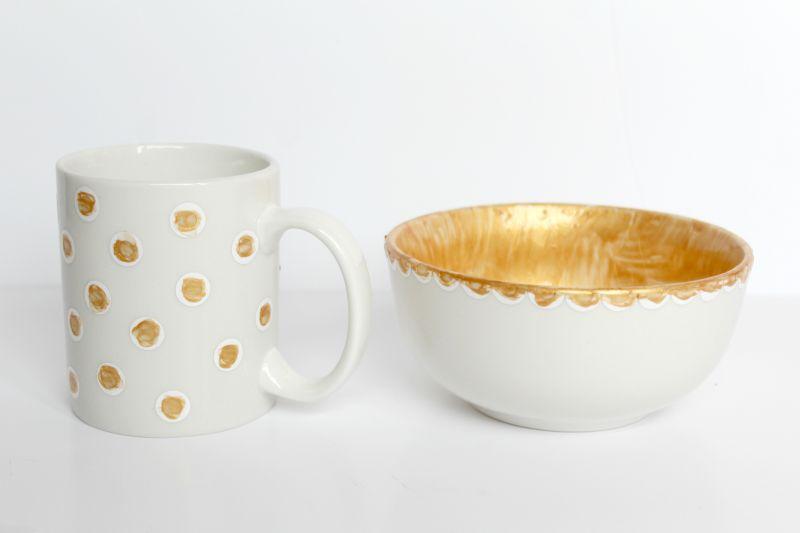 DIY Gold Painted Crockery Dry Process