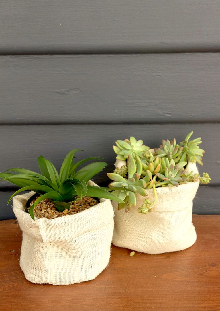 DIY Hessian Planter Bags for Home