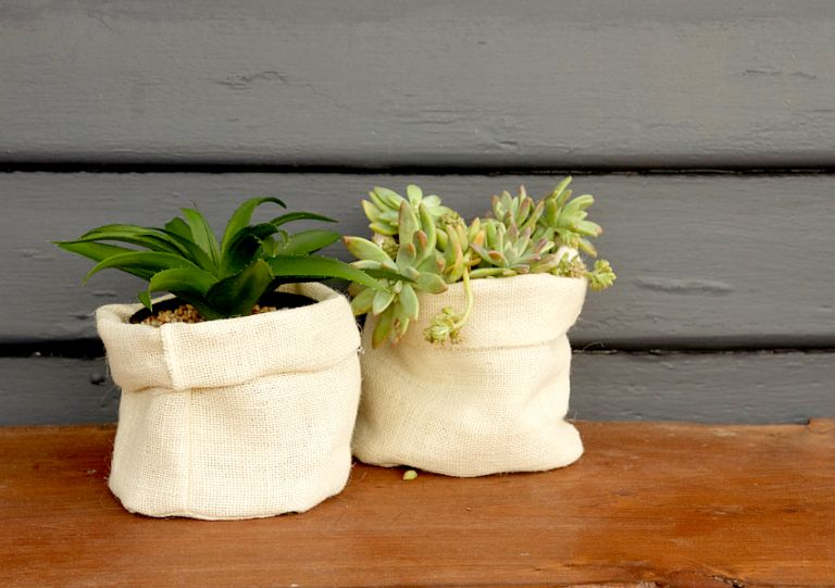 DIY Hessian Planter Bags