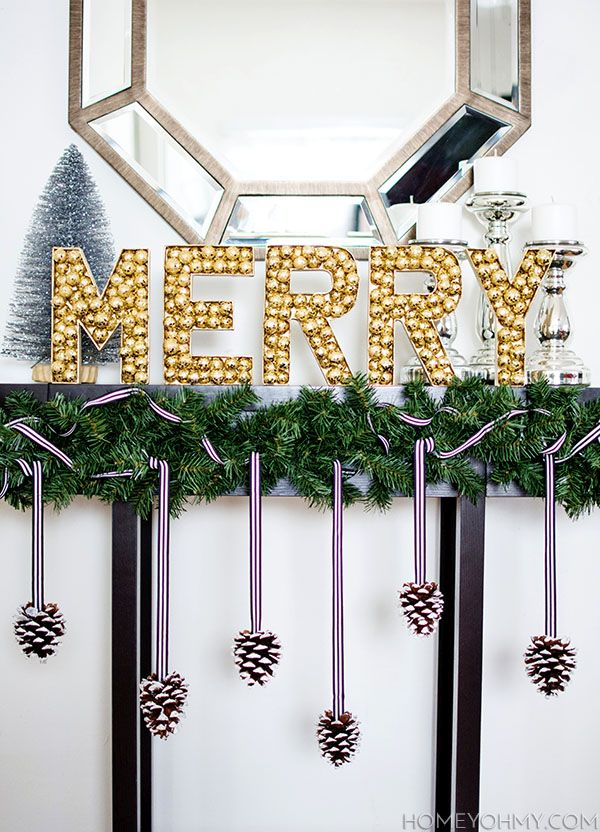 DIY Merry Sign from Pine Cones