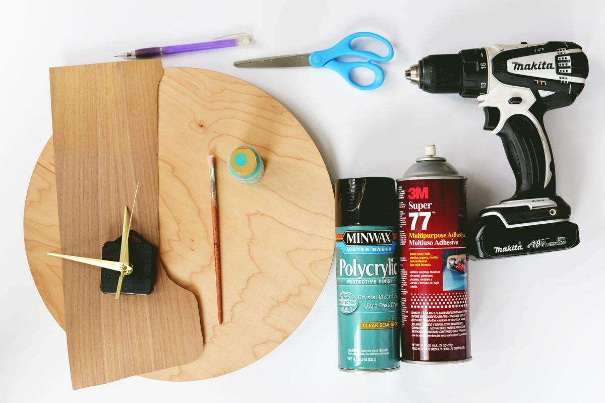 DIY Modern Wood Wall Clock Supplies