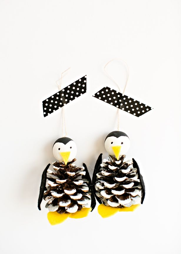 DIY cpne penguin ornaments