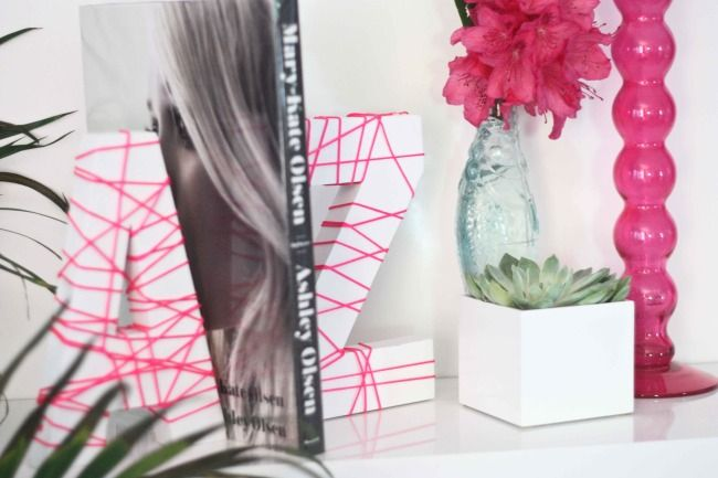 DIY string letters bookends
