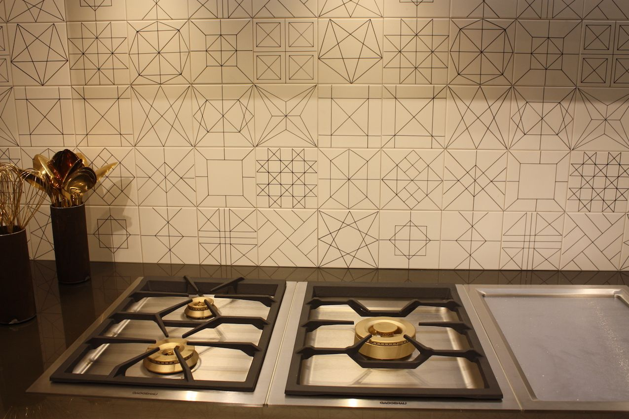A graphic delight of a backsplash from Doimo Cucine.