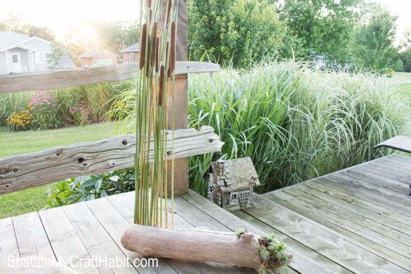 Driftwood cattails porch decor