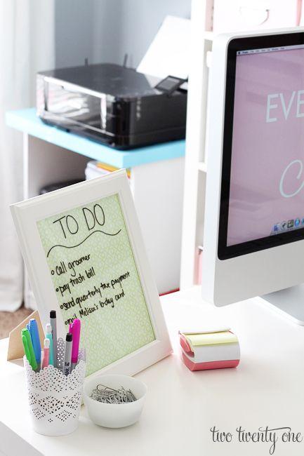 Dry erase board framed