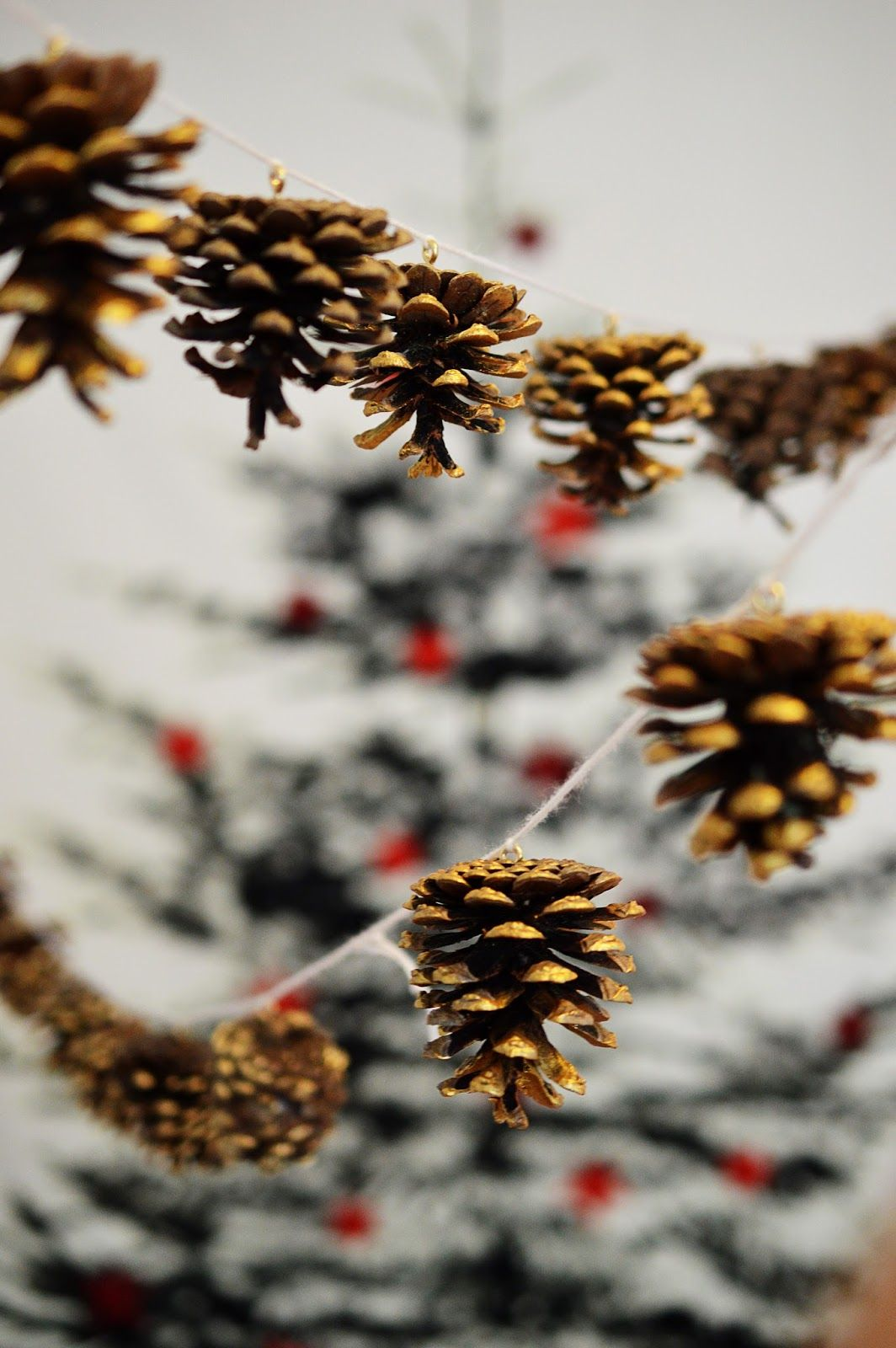 Festive pine cone garland