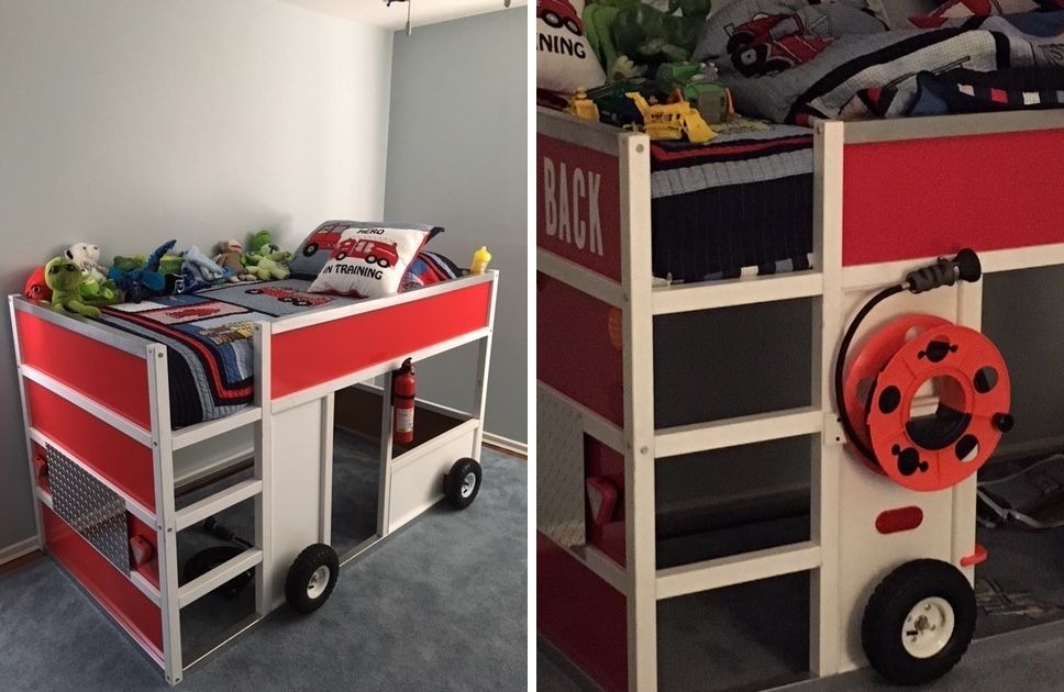 Fire truck mae from a kura ikea bed