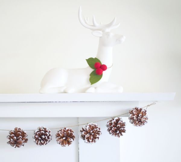 Fireplace pine cone garland