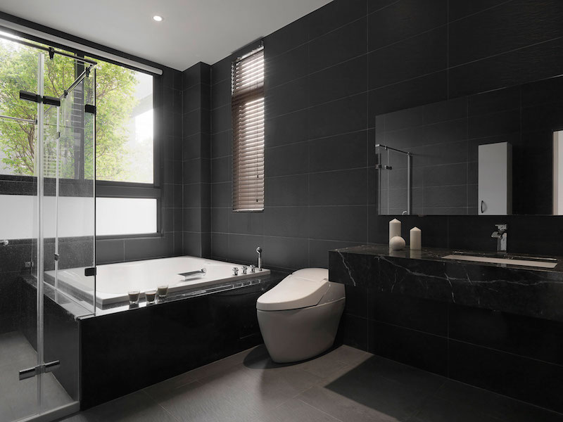 Four Season House bathroom black walls