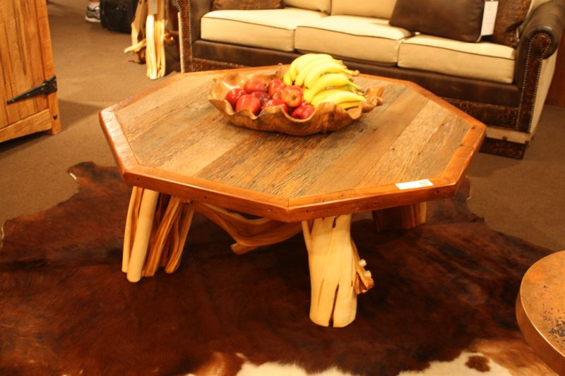Full Wood Coffee Table With Unique Tree Branch Base