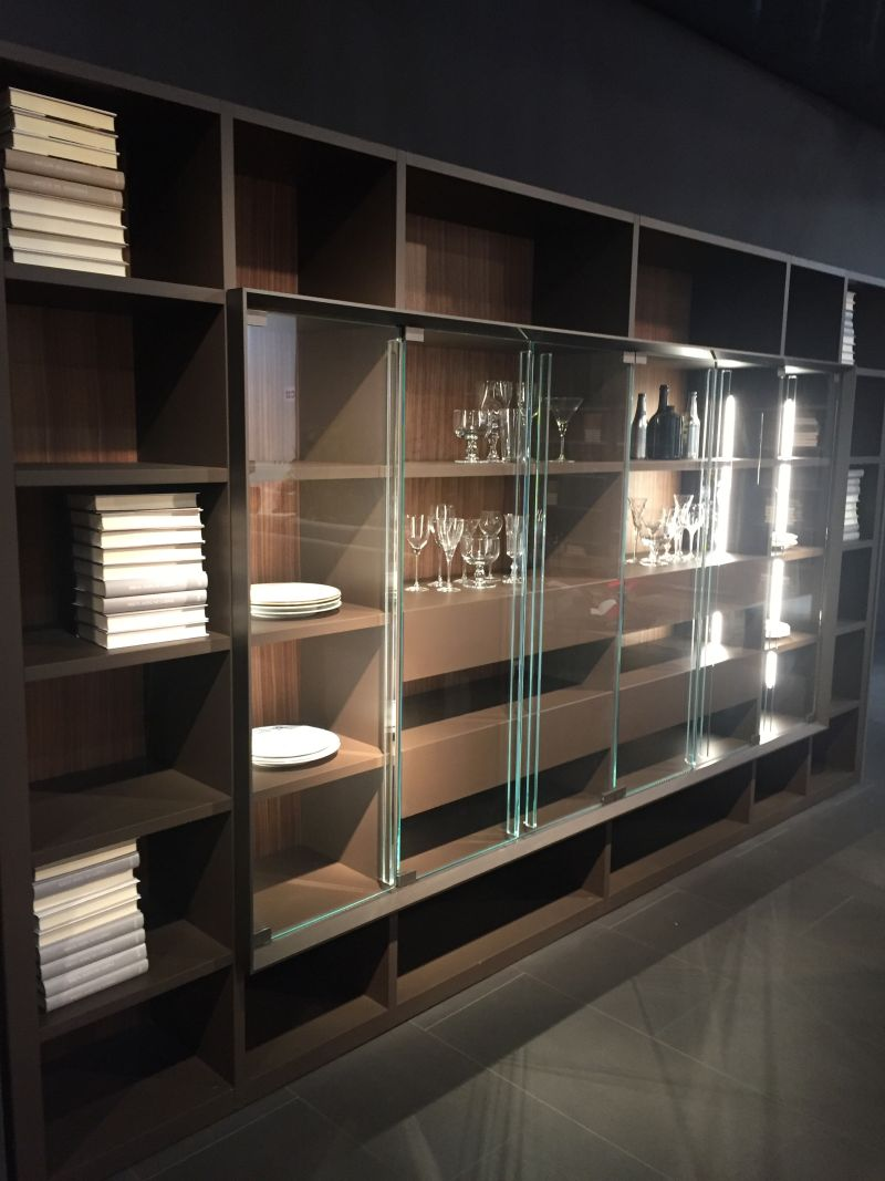 Glass sliding door for bookshelf