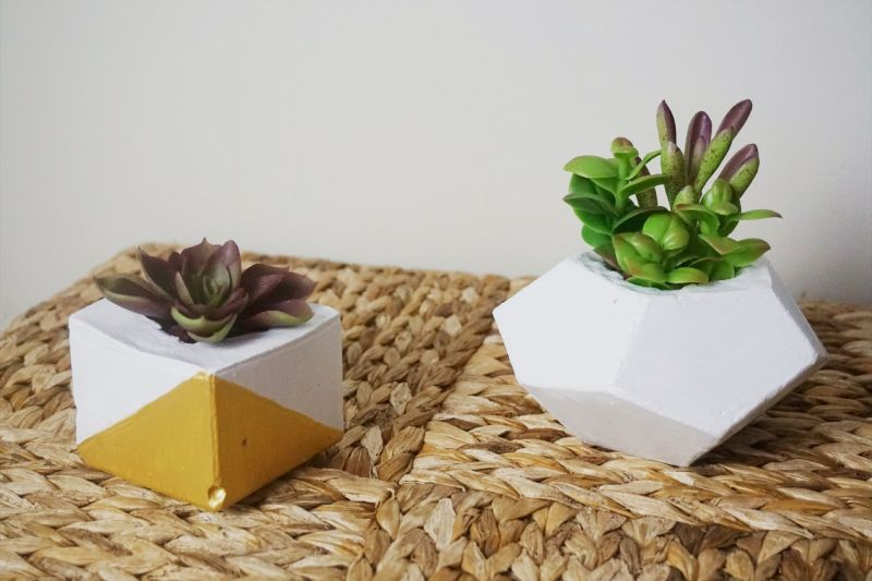 Gold dipped concrete planters