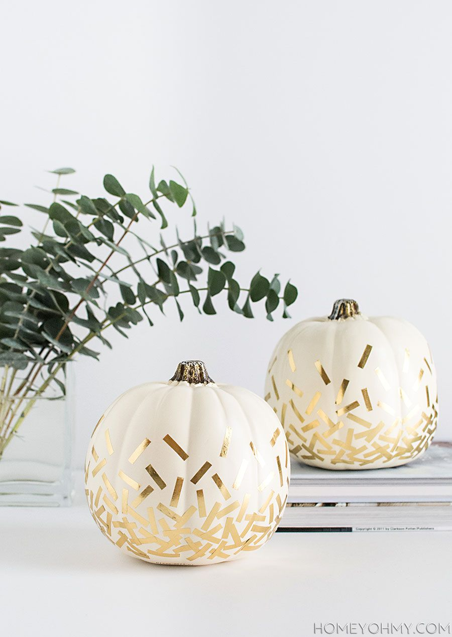 Gold washi tape pumpkin for Halloween