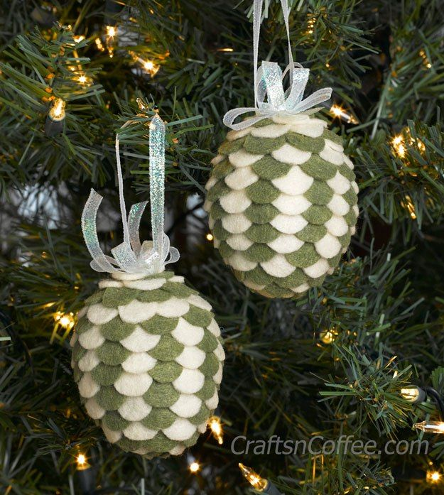 Green felt pine cone ornaments