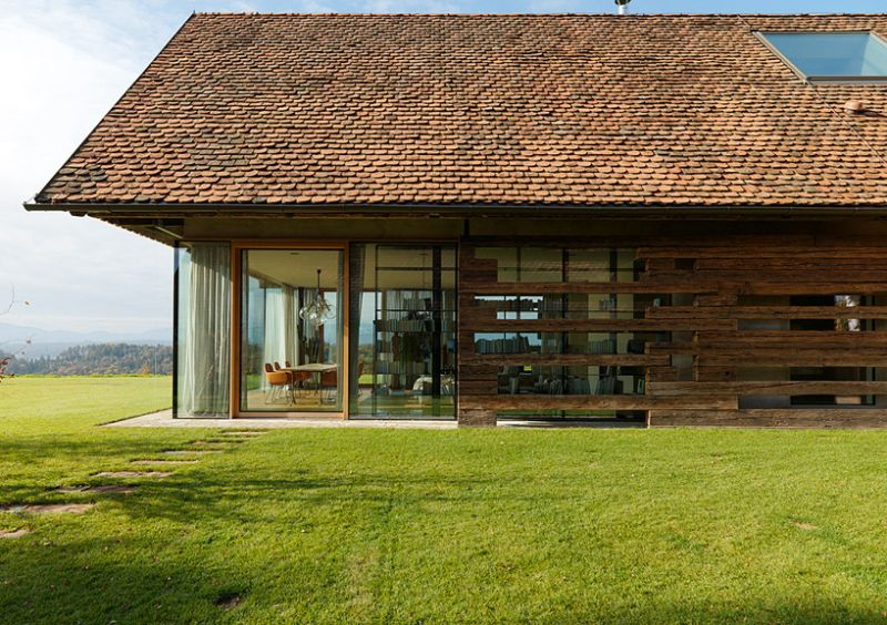 Haus P barn renovation glass and timber facade