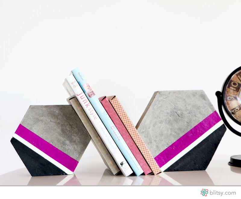 Hexagon cement bookends