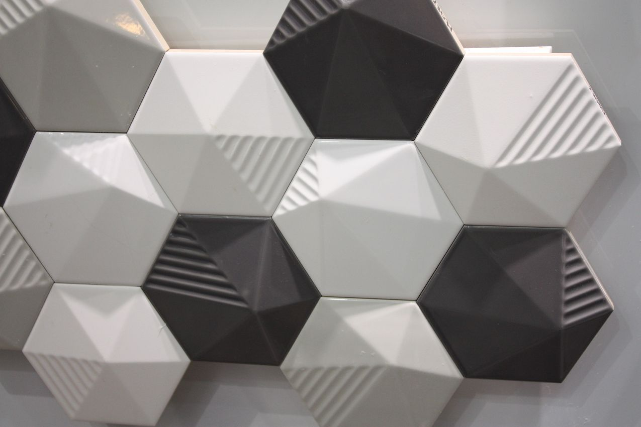 Hexagons are even more dramatic when they are raised and partially textured.
