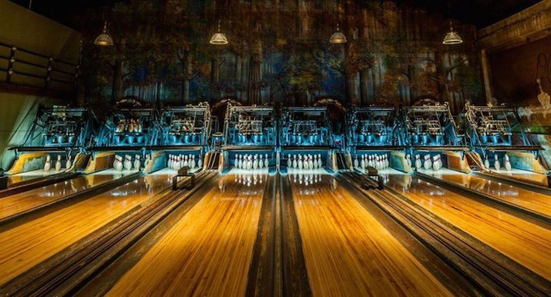 Highland Park Bowling Alley pins and mural