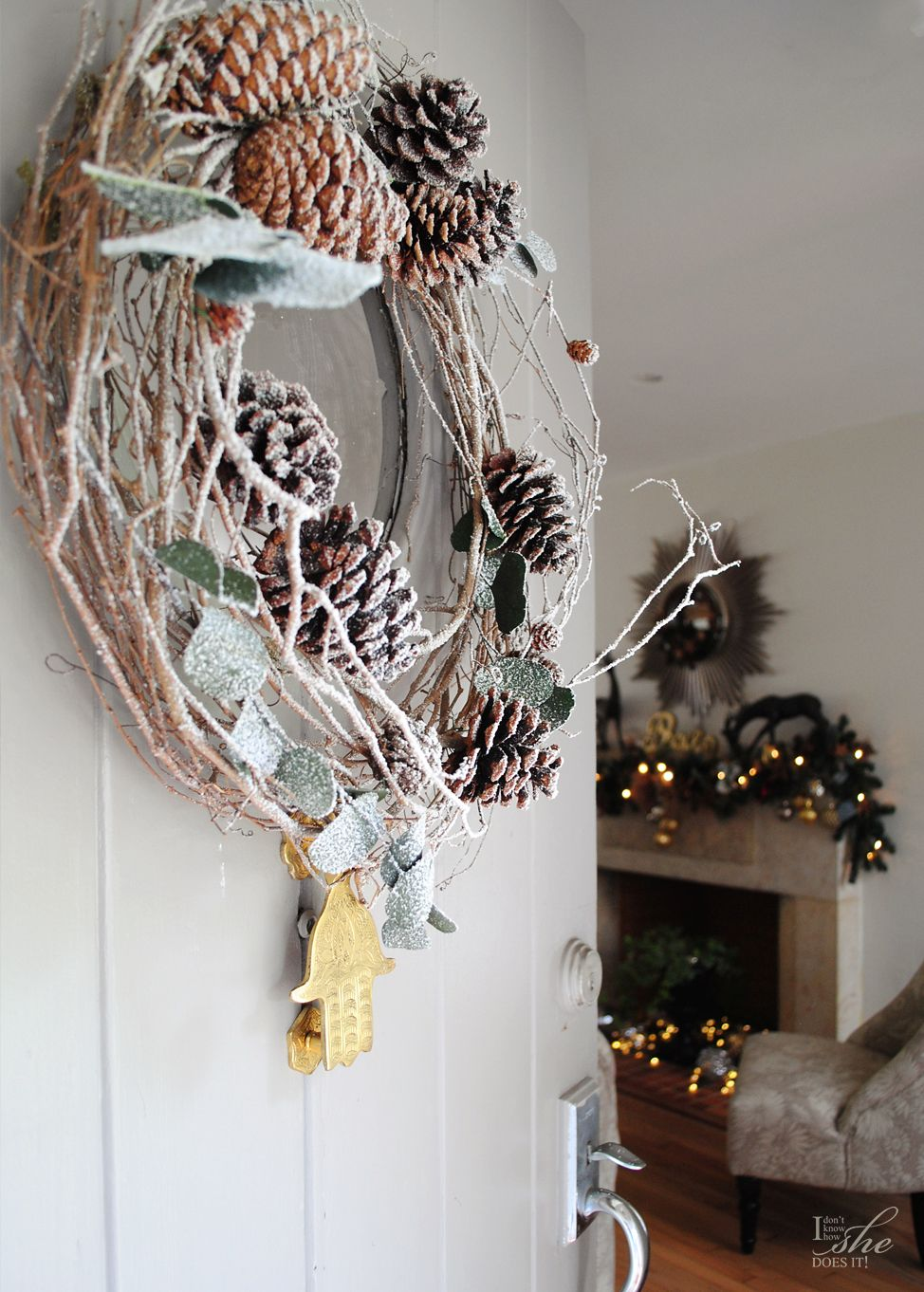 Holiday wreath from pine cones