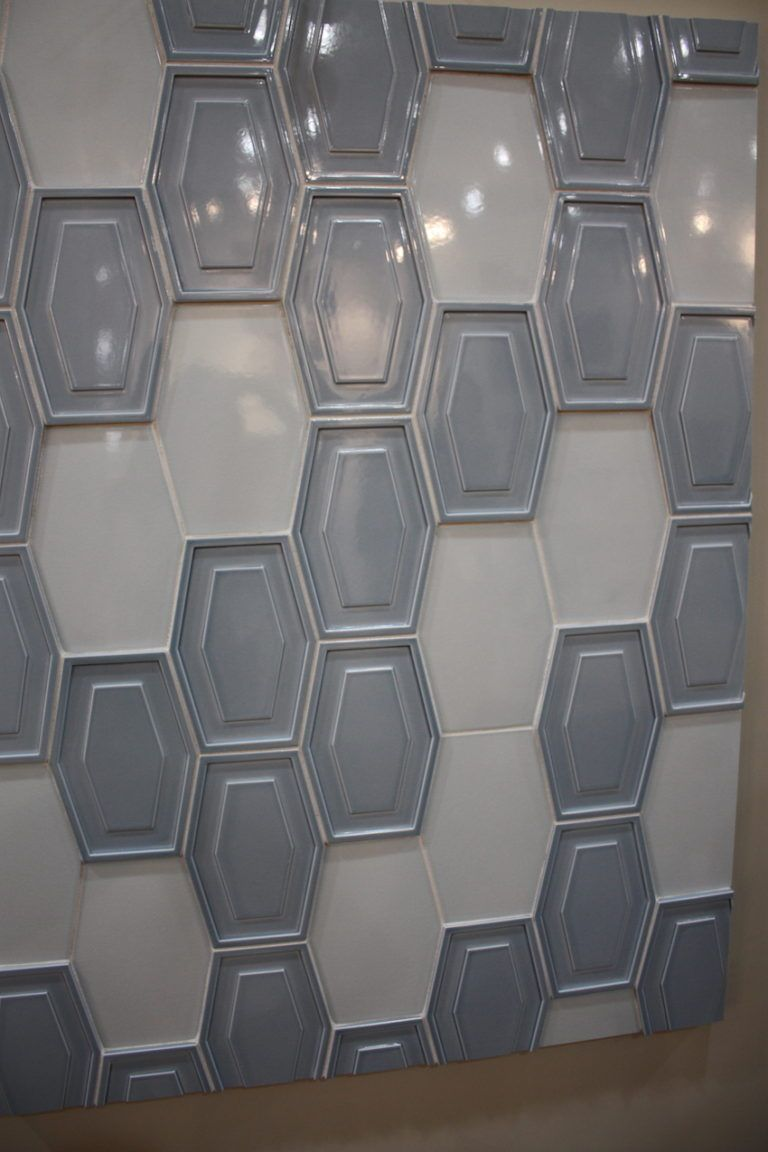 Honeycomb-shaped Montclair Relief tiles get the 3D treatment as well.