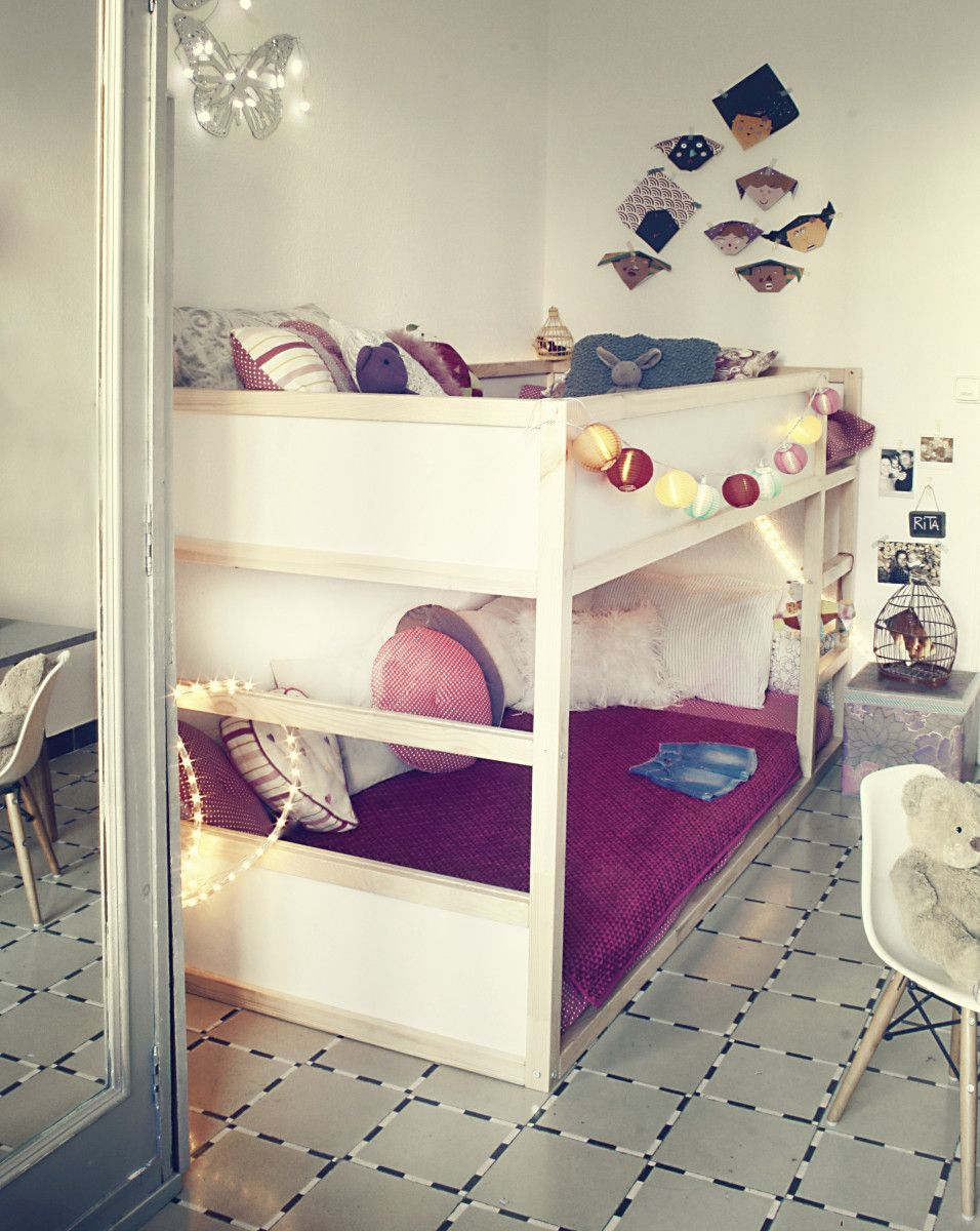 Ikea kura bunk bed with string lights