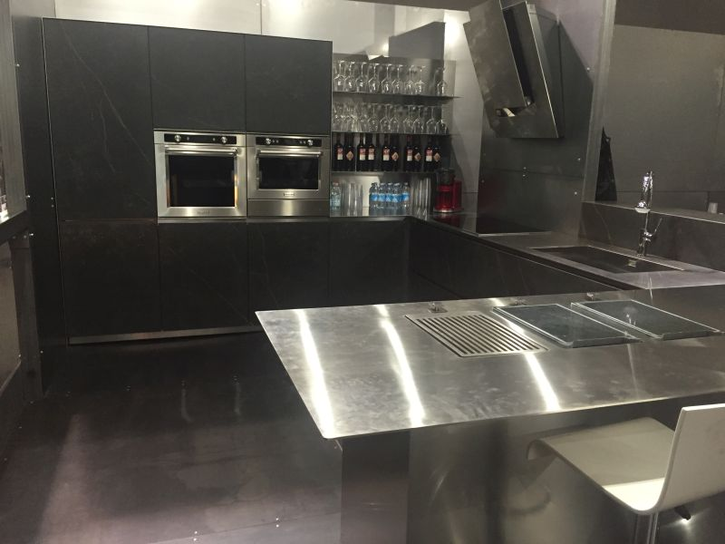 Kitchen with stainless steel countertop