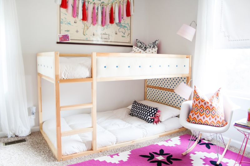 Kura bed into a stylish upholstered bunk bed