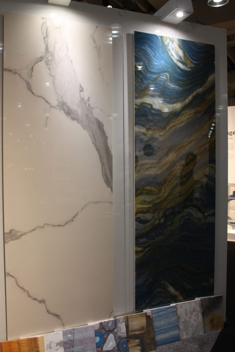 These large wall slabs come in various colors and surface veining, inspired by precious stones, onyx, crystals and minerals.