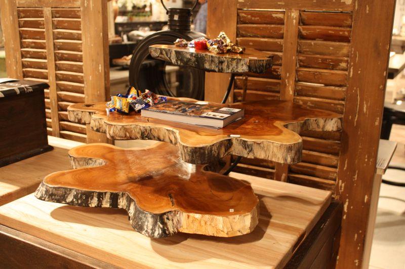 Layered wood slab coffee table