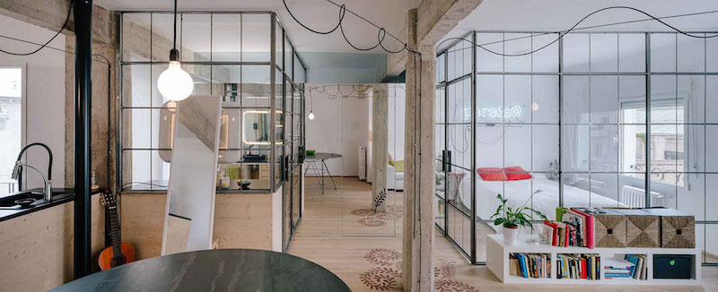Madrid apartment with no solid walls glass partitions