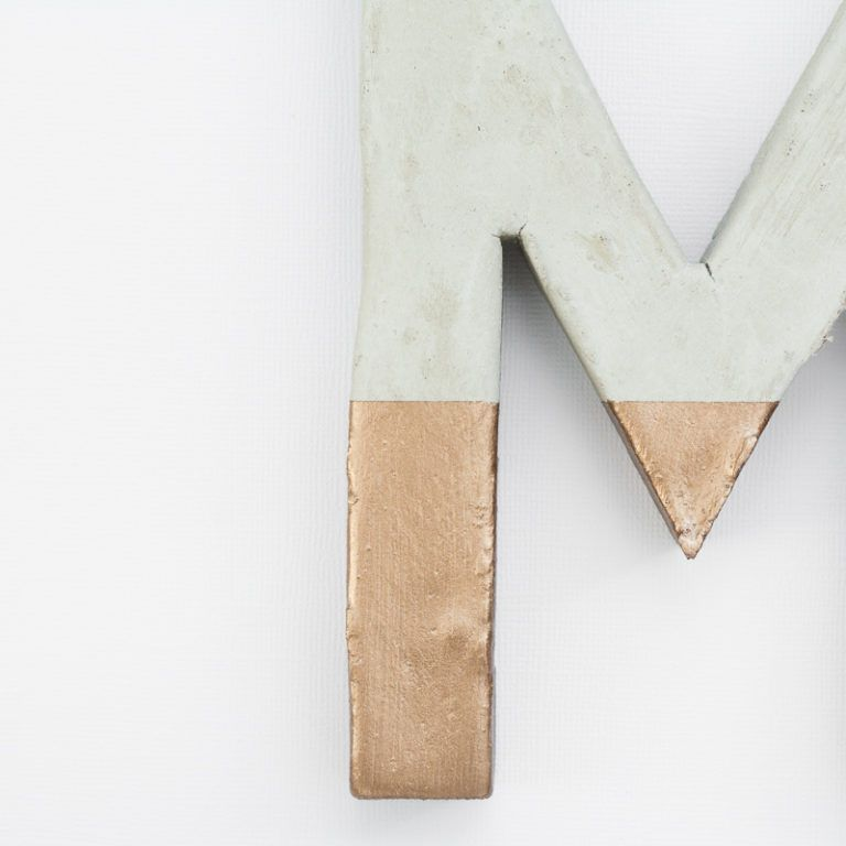 Make Painted Concrete Letters - copper painted letter