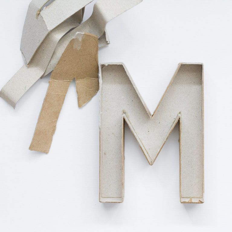 Make Painted Concrete Letters - prepare the mache letter