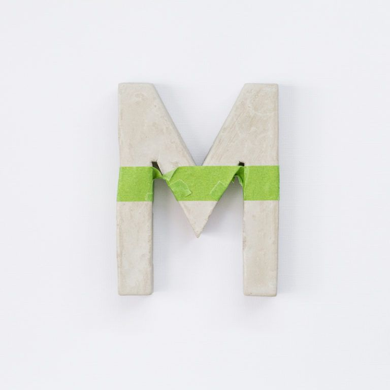 Make Painted Concrete Letters - use tape to paint