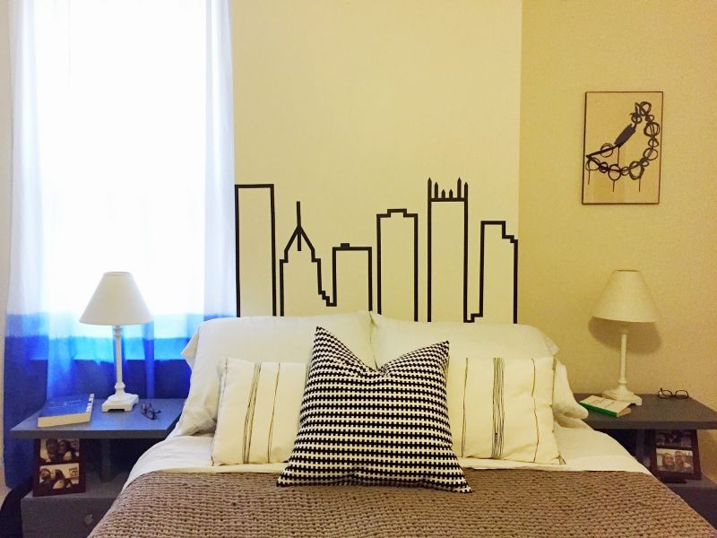 Make a cityscape design from washi tape