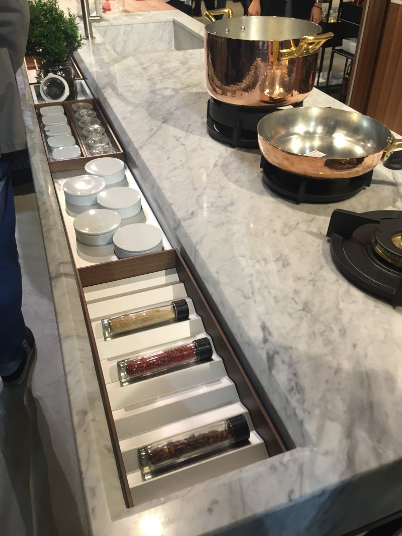 Marble countertop with storage for accessories