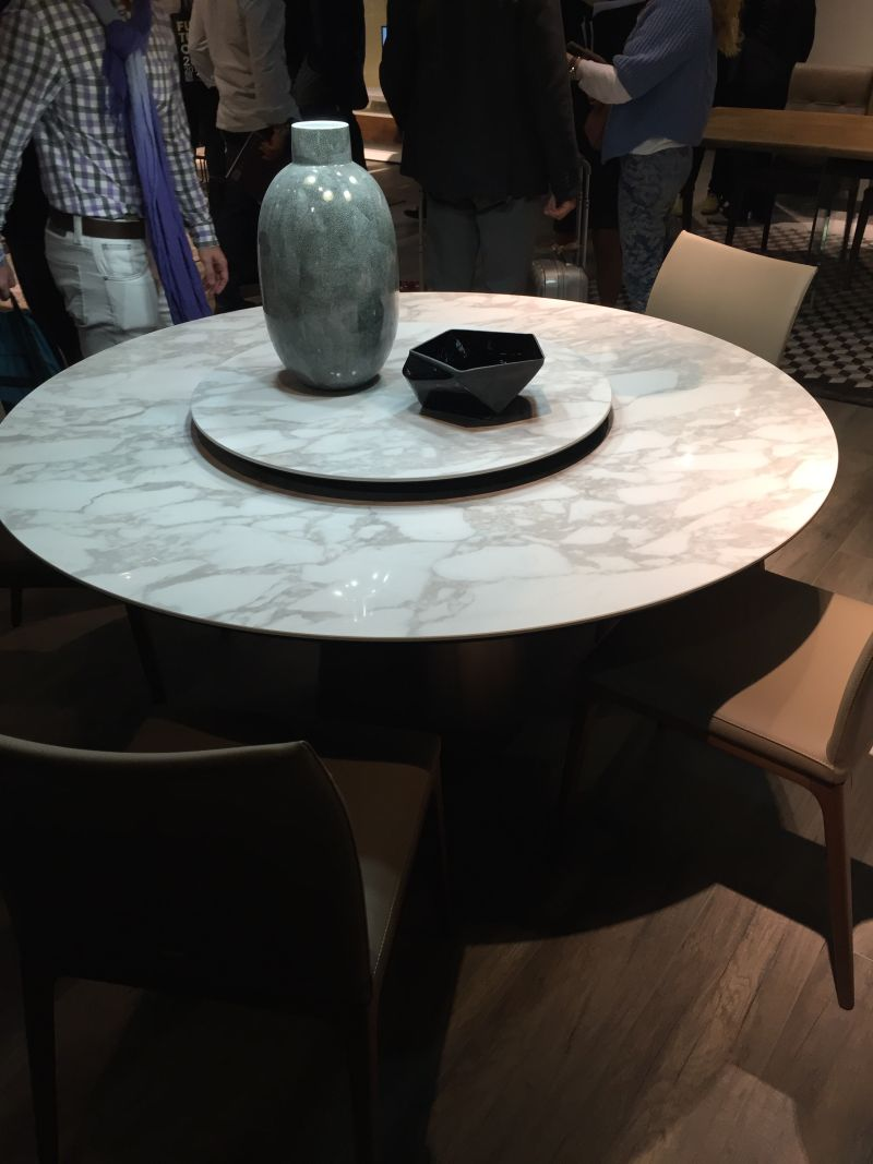 Marvelous Marble Round Dining Table With Lazy Susan Built In