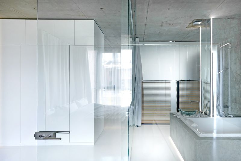Minimalist Moscow apartment bathroom glass walls