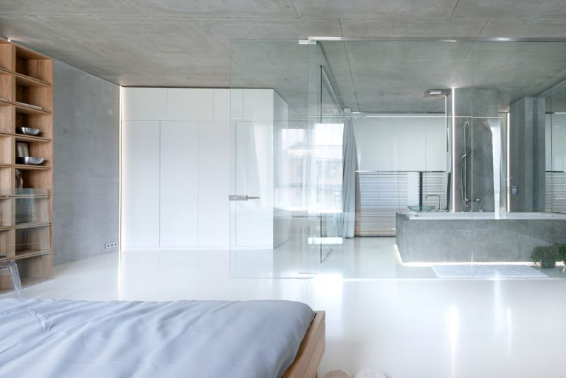 Minimalist Moscow apartment bedroom and bathroom