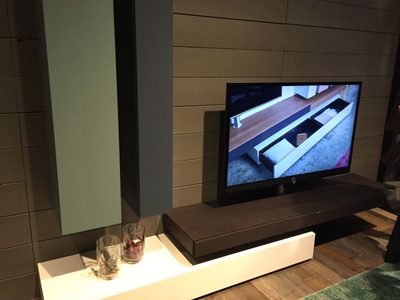 Modern TV stand with two vertical storage units