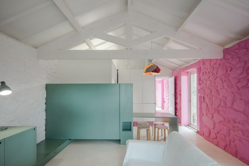 Modern barn house pink and turquoise