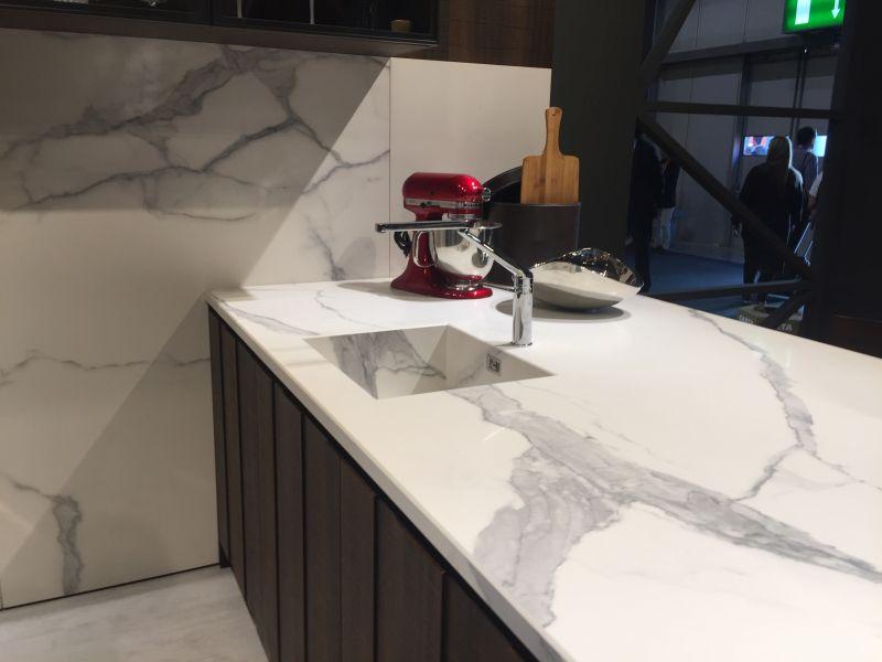 Modern kitchen island with white marble