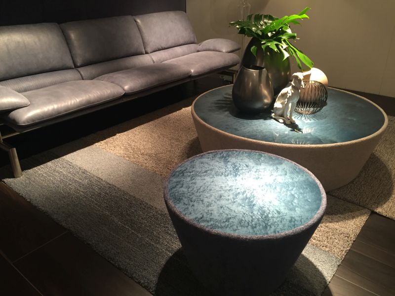 Ombre blue ottoman coffee tables