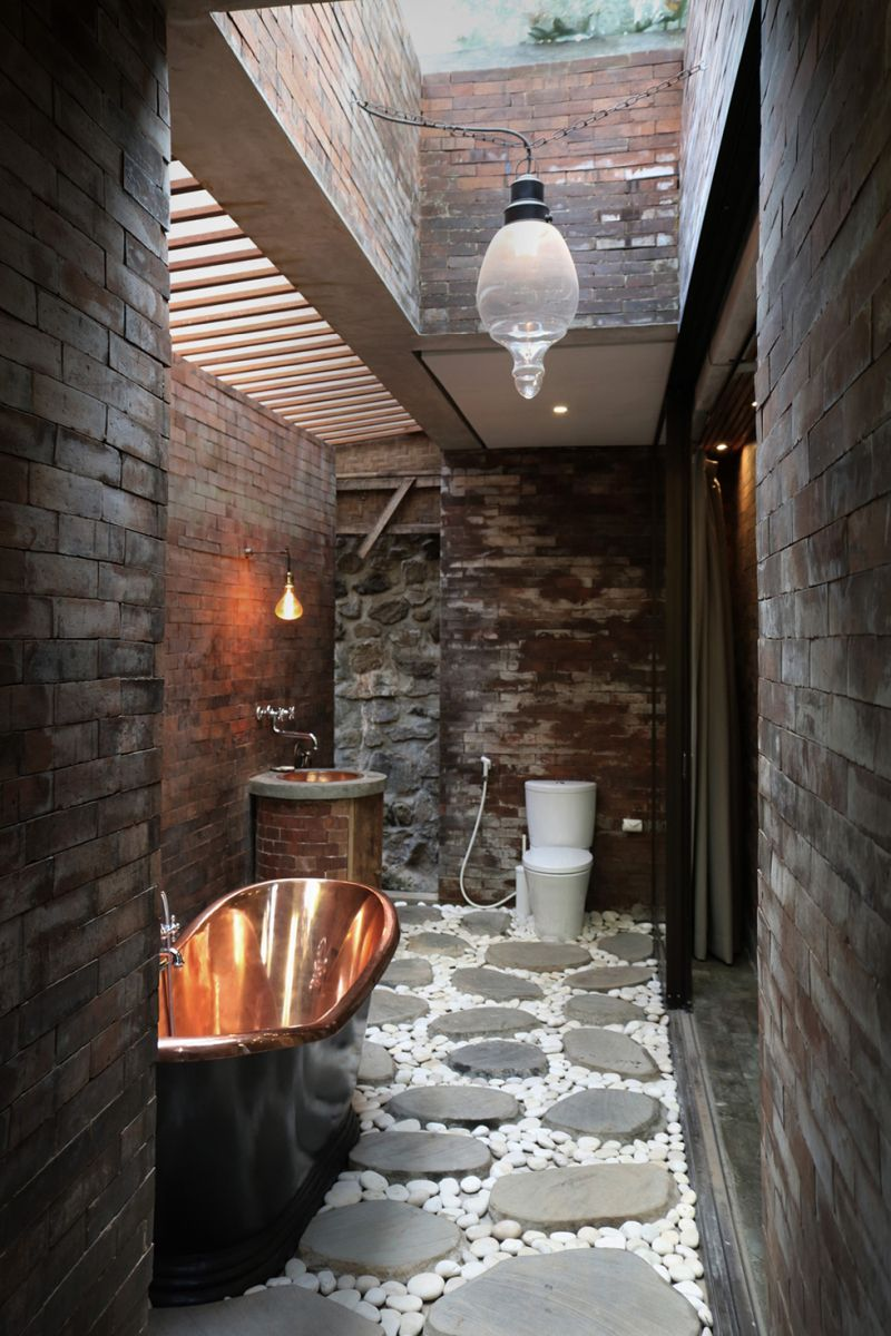 Origami House bathroom copper tub