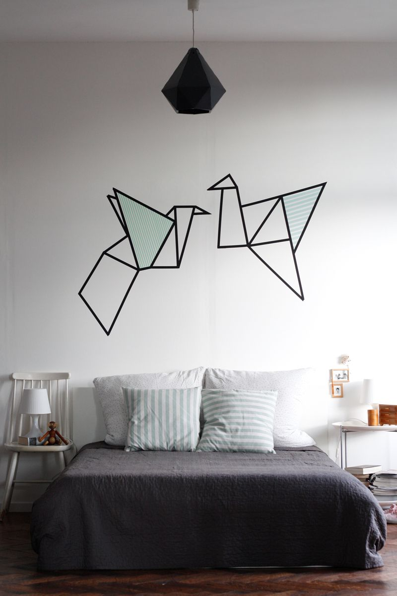 Origami washi tape on wall