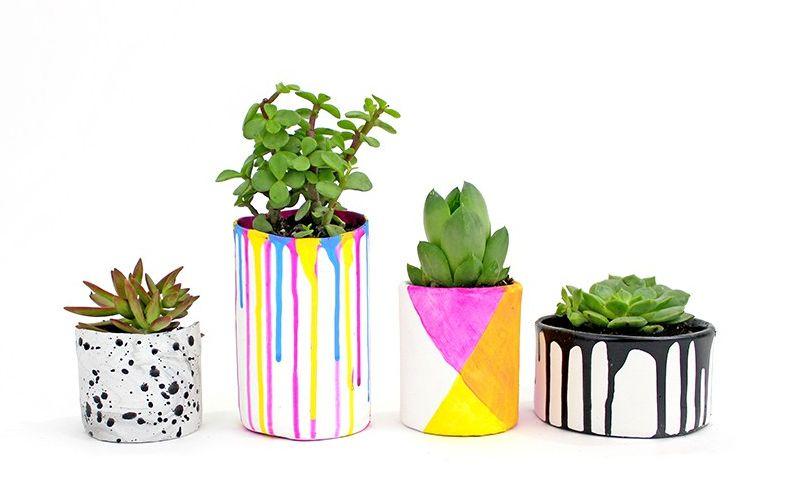 Paint drip planters