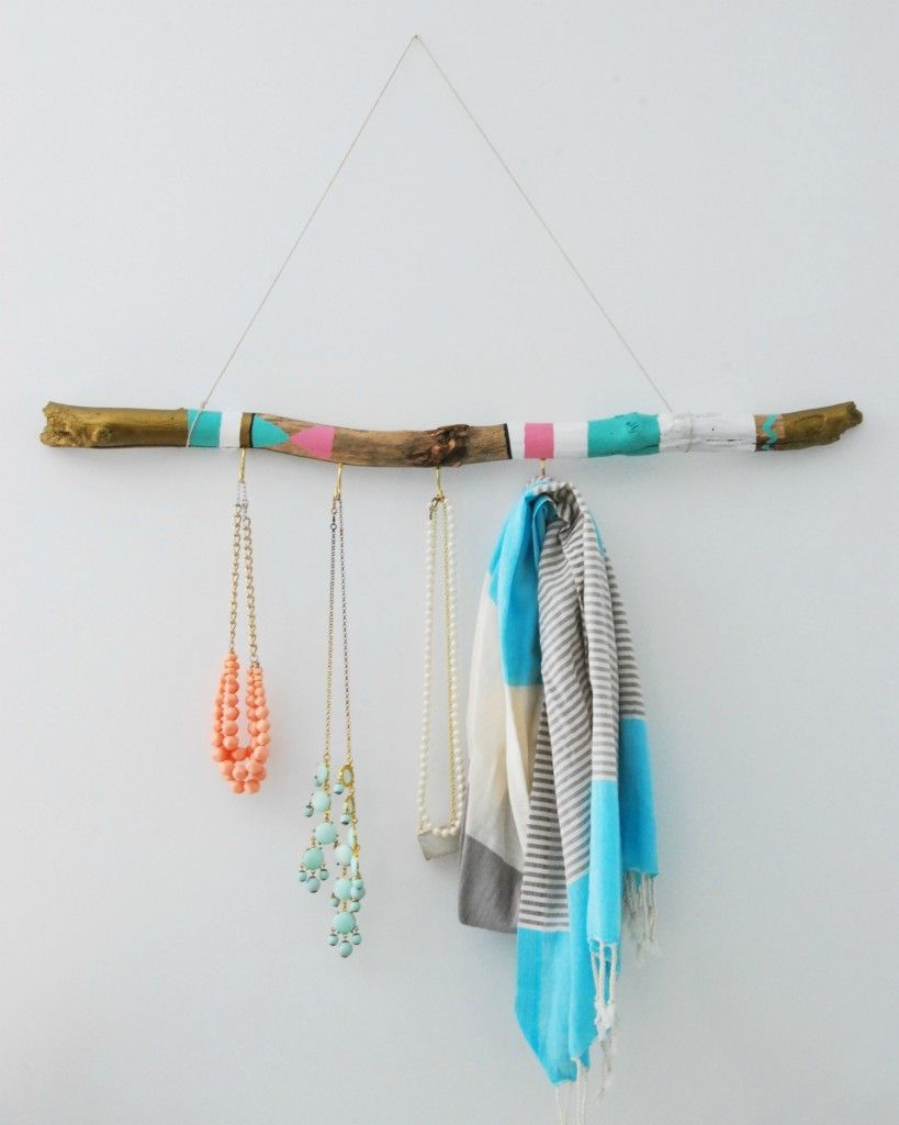 Painted driftwood hanger