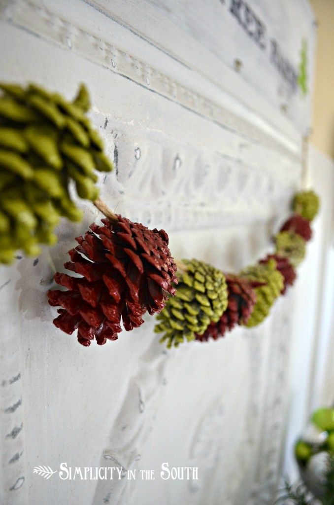 Painted pine cone garland