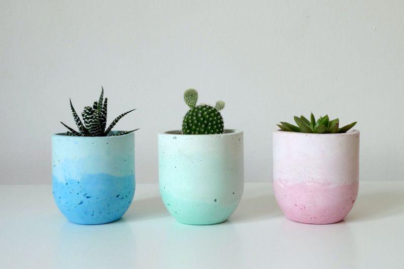 Pastel ombre concrete planters